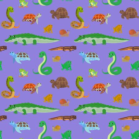 newt: Seamless pattern with cartoon animals. Sea endless purple background with crocodile snake turtle frog newt. Vector illustration. Illustration