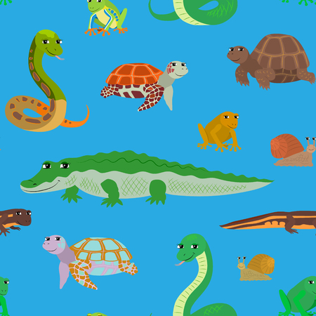 newt: Seamless pattern with cartoon animals. Sea endless blue background with crocodile snake turtle frog newt. Vector illustration.