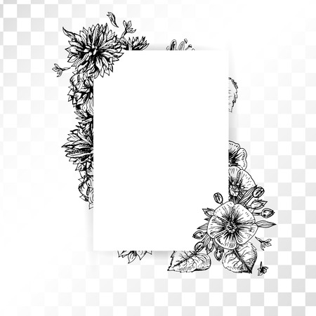 black borders: Hand drawn flower frame on transparent background. Retro sketches isolated. Wedding design. Doodle line graphic design. Vector vintage black and white images. Vector illustration.