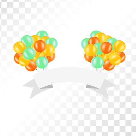 holydays: White ribbon with balloons on transparent background. Vector illustration for signs, cards and so on. Clipart for holydays. Place to company name. Illustration