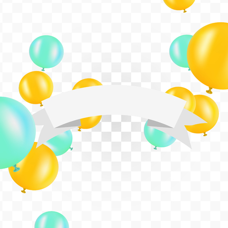 White ribbon with balloons on transparent background. Vector illustration for signs, cards and so on. Clipart for holydays. Place to company name. Illustration