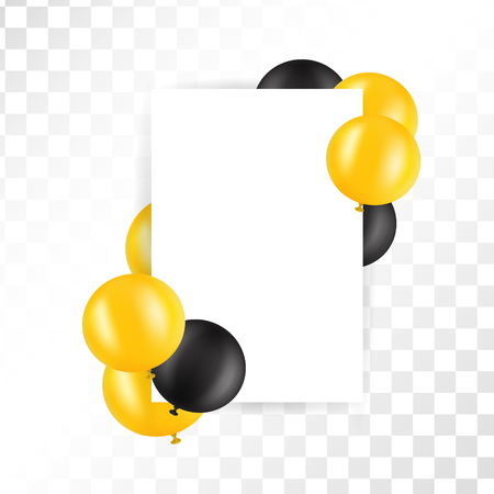 Black and gold ballons on transparent background with mockup. Black Friday Sale Poster with Shiny Balloons on white Background with Square Frame. Vector illustration. Ilustrace
