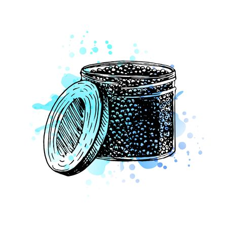 Watercolor Hand drawn jar with black caviar. Retro sketches isolated. Vintage collection. Doodle line graphic design. Black and white drawing jar with black caviar. Vector illustration.