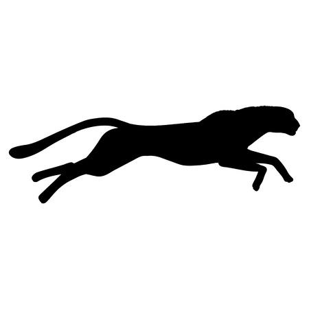 Running cheetah silhouette. Black white vector illustration.