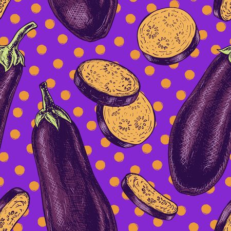 Seamless pattern with eggplant. Retro background. Vintage style. Linear graphic design. Colored image of vegetables. Vector illustration. Vectores