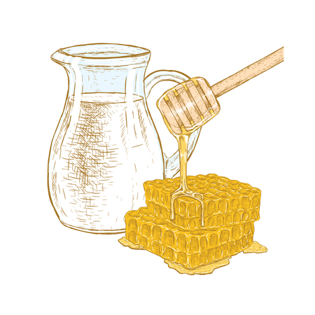 Hand drawn set of milk jug and honeycomb with honey stick. Sketches isolated. Colored graphic design. Vector illustration. Illustration