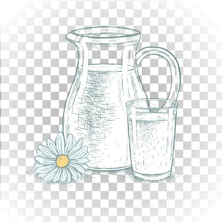 Mano Dibujada Jarra De Leche Y Vaso De Leche Bocetos