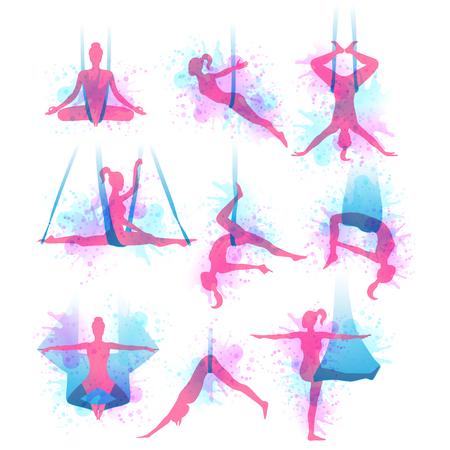 Aero yoga watercolor icons, women performing in a hanging hammock.