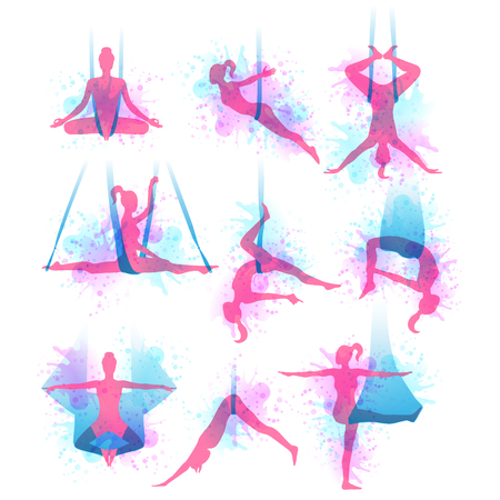 Aero yoga watercolor icons, women performing in a hanging hammock.