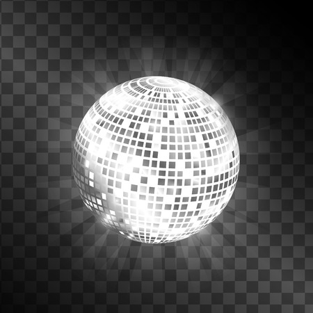 Disco ball isolated on transparent background. Shiny circle sphere for disco illustrations. Black and white color. Vector image. Illustration