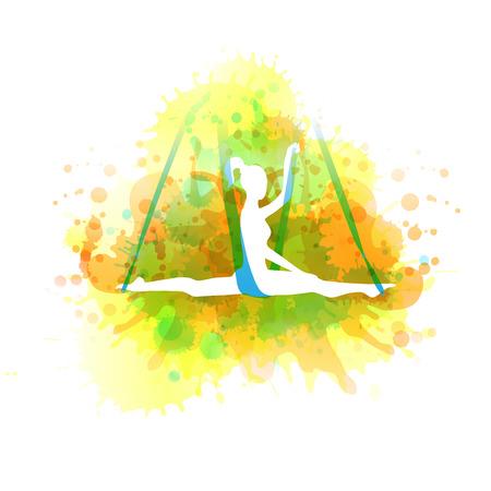 Aero yoga illustration. Vector watercolor. Illustration