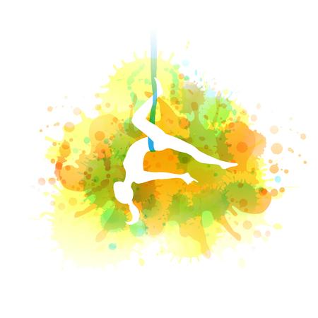 Aero yoga illustration. Vector watercolor.