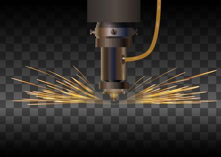 Lasermachine voor metaal op transparante achtergrond. Lasersnijden met sparkles. Vector illustratie.