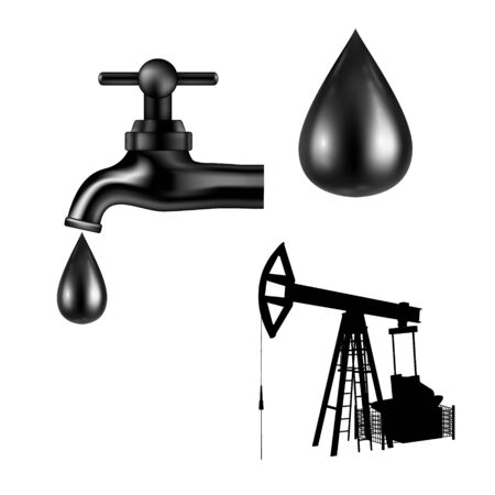 Vector black tap with oil drop on white background. Petroleum rig silhouette. Isolated icon. Vector illustartion. Illustration
