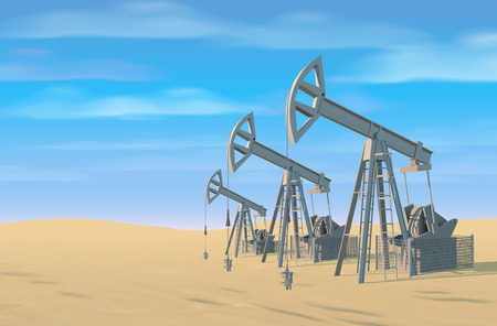 Petroleum rigs. Oil drill background. Vector image. Illustration