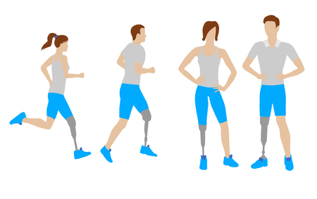 Prosthesis for legs vector flat icons.