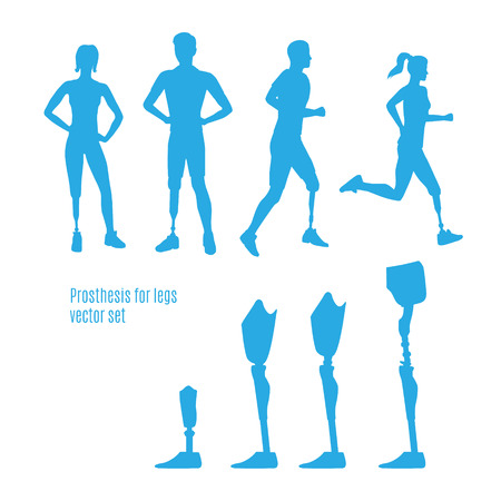 Prosthesis for legs vector silhouettes. Illustration