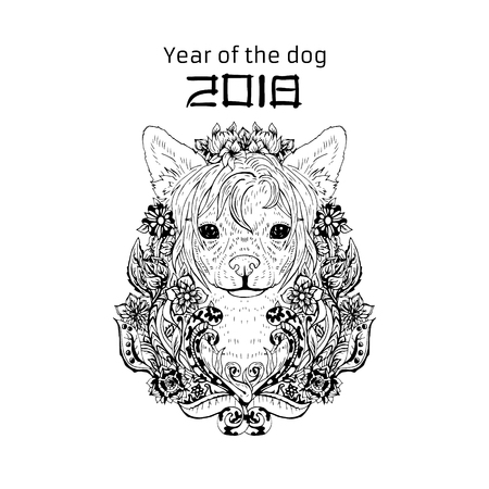 2018 Zodiac Dog. New year design. Christmas background. Dog s face with flowers. Chinese crested breed. Vector illustration.