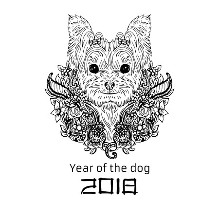 2018 Zodiac Dog. New year design. Christmas background. Dog s face with flowers. Yorkshire terrier breed. Vector illustration.