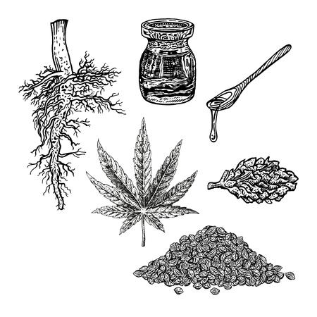 Ensemble dessiné à la main avec un cône d'huile de cannabis en feuille de chanvre et un tas de graines. Croquis isolé de marijuana. Conception graphique en noir et blanc. Illustration vectorielle vintage.