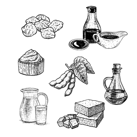 Hand drawn set of soy products. Soy sauce, oil, meat, paste, milk, tofu. Retro isolated sketches. Vintage figure. Linear graphic design. Black and white image. Vector illustration