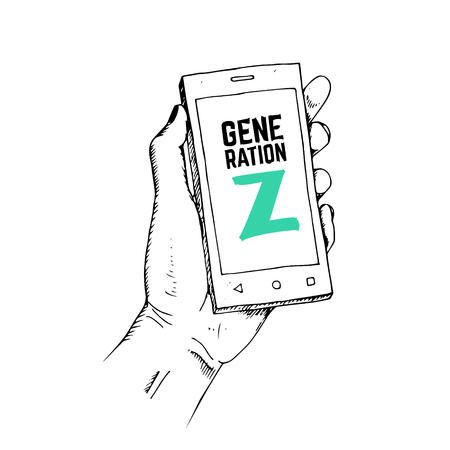 Generation Z concept. Drawn hand with smartphone.