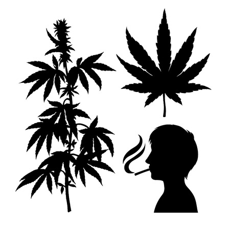 Silhouettes of hemp. Smoking person with a cigarette. Black-white icon of smoker. Cannabis leaf. Vector marijuana twig