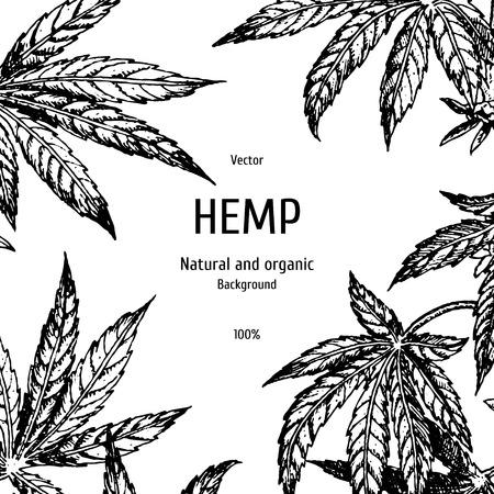 Hand drawn hemp background. Cannabis leaf.