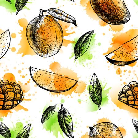 Seamless pattern with mango.