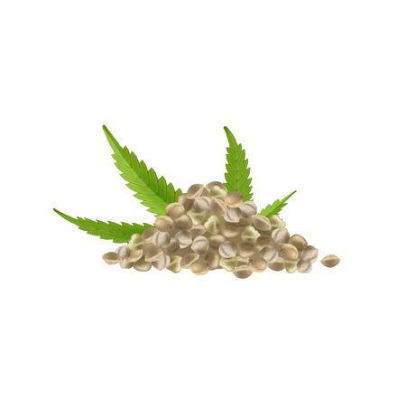 Realistic hemp seeds with leaf on white background. Marijuana bunch. Cannabis pile. Vector illustration.
