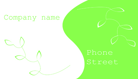visiting card with green leaves