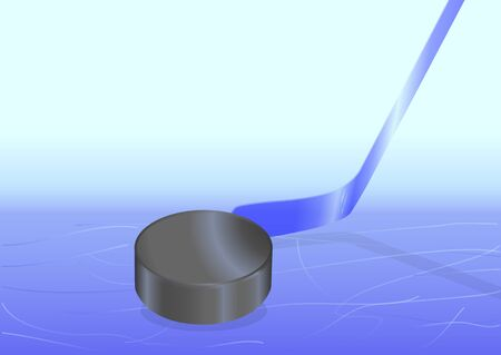 puck: A hockey puck with a hockey stick