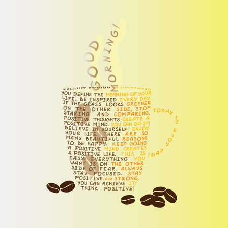phrases: A cup of coffee made of positive phrases