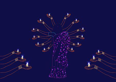 sari: HinduIndian dance with candles