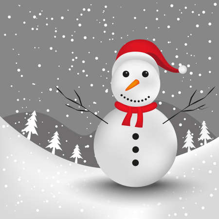 snowman in snow land Stock Vector - 17054904