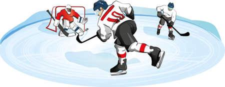 pond: Scene hockey on the pond, vector