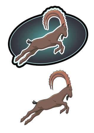 cow teeth: Ibex jumping, ideal for sports logo, or representation. Vector