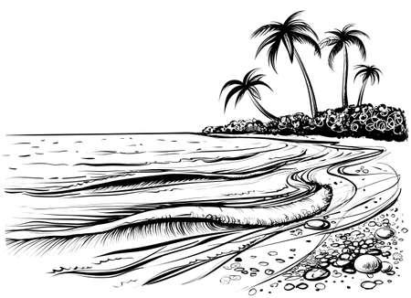 Oceaan of zee strand met golven, schets. Zwart-witte vectorillustratie van overzeese kust met palmen. Hand getrokken zeezicht.