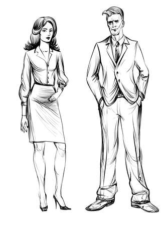 Man and Woman, sketch. Hand drawn illustration. Business people. Business man and business woman. Stylized line.