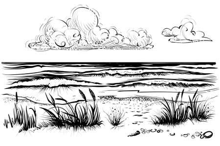 Plage d'océan ou de mer avec des vagues, croquis. Illustration vectorielle noir et blanc de la rive de la mer avec de l'herbe et des nuages. Vue sur la mer dessiné à la main.