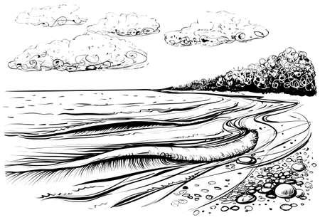 Spiaggia del mare con onde tempestose. Illustrazione vettoriale in bianco e nero della riva del mare. Stile abbozzato. Vista mare disegnata a mano disegnata da linee decorative.