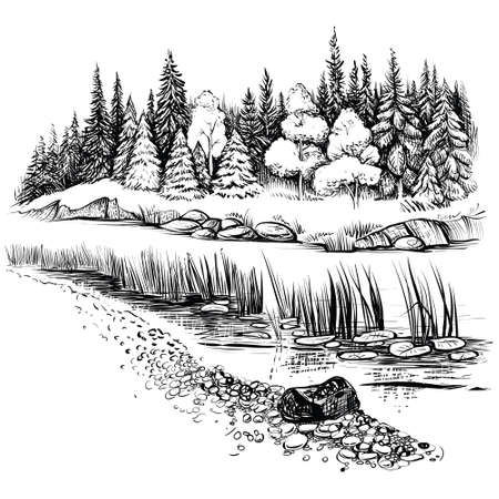 River landscape with conifer forest. Vector illustration.