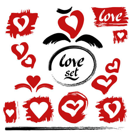 Hearts vector. Love set. Hand drawn ink lettering and calligraphy strokes. Red hearts, brush strokes and blobs. Hand drawn design elements. Illustration