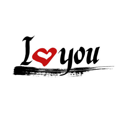 I love you vector. Hand drawn ink lettering. Red heart and black brush stroke. Hand drawn design elements. Illustration