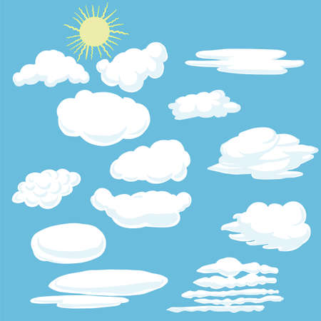Cartoon clouds and sun. Vector illustration on blue background.