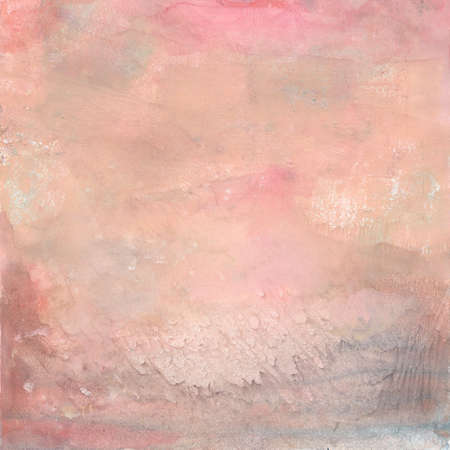 Abstract painted background in pastel colors. Pink handmade background with gouache. Color texture. Fragment of artwork. Brushstrokes of paint. Watercolor drips. Raster. Monotype.