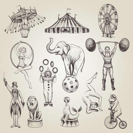 サーカス ヴィンテージ手描き。  イラスト・ベクター素材