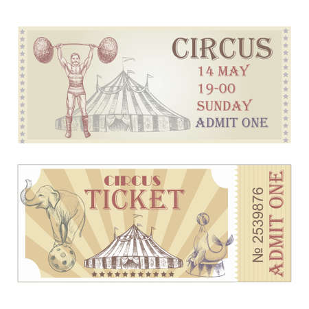 Circus horizontal tickets front side.