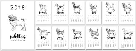 Hand drawn illustrations of dogs, symbol of Chinese New Year and monthly hand written modern calligraphy.