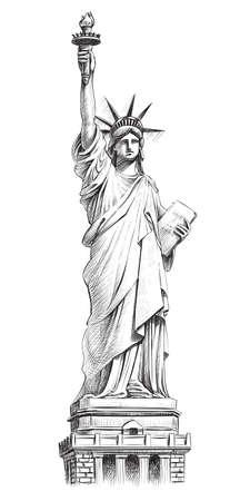 Statue of liberty, vector hand drawn illustration. Vettoriali